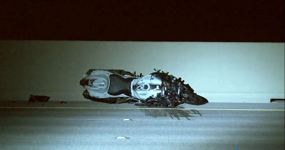 A man speeding down the Gulf Freeway on his motorcycle was killed Saturday, Feb. 17, 2018, after running into the back of a car, according to local authorities. Photo: Metro Video