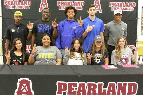 Multiple Pearland High School athletes signed letters of intent on national signing day. Those athletes are (bottom row, left to right) Kayla Izaguirre (soccer, University of Houston), Reagan Eaton (track, Bethany College), Blake Delamater (soccer, University of Louisiana- Monroe), Laura Williams (soccer, East Texas Baptist), Megan Keasler (volleyball, West Texas A& (top row, from left) Trejan Glasco (football, Texas A&Kingsville), De'antione Carter (football, Texas A&Kingsville), Adam Tillmon (football, Texas A&Kingsville), Trent Deshotel (football, Kilgore College) and Auston Deason (football, Air Force Academy).