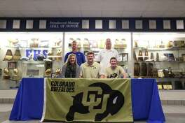 Jake Yurachek of Friendswood signed a letter of intent to play football for Colorado. He was joined at the signing by his mother Jennifer Yurachek, his brother Brooks Yurachek, coach Jamie Crocker and FHS Athletic Director Robert Koopmann.