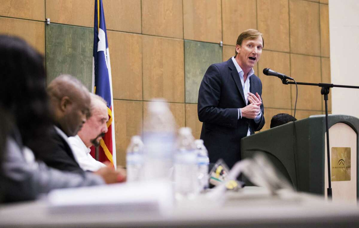 Gubernatorial candidate Andrew White, right, speaks during a democratic gubernatorial candidate forum hosted by Tom Green County Democratic Club on Monday, January 8, 2018 at the San Angelo Museum of Fine Arts in San Angelo, Texas. Each candidate was allowed five minutes to speak. (Ashley Landis/The Dallas Morning News)