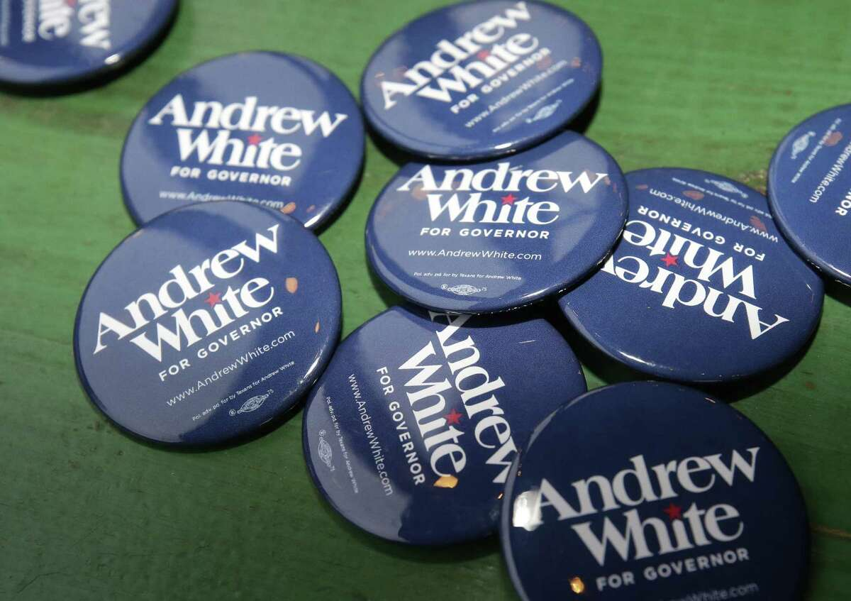 Campaign buttons for Andrew White, a Democratic candidate running for governor of Texas, are shown during event at Kirby Ice House, 3333 Eastside St., Wednesday, Feb. 7, 2018, in Houston. ( Melissa Phillip / Houston Chronicle )