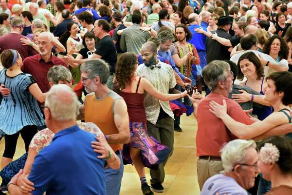 Contra dancing session during the 31st Flurry Festival Saturday Feb. 17, 2018 in Saratoga Springs, NY.  (John Carl D'Annibale/Times Union)
