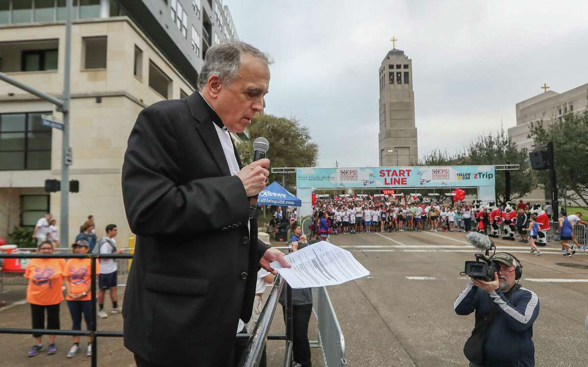 Over 12,000 runners/walkers received a Blessing from Daniel Cardinal DiNardo before the start of the Archdiocese of Galveston-Houston's 13th annual Steps-for-Students 5K Run/Walk Saturday, Feb. 17, 2018, in Houston. The event benefits the network of 59 Catholic schools in the Archdiocese of Galveston-Houston, the largest private school systems in Texas.