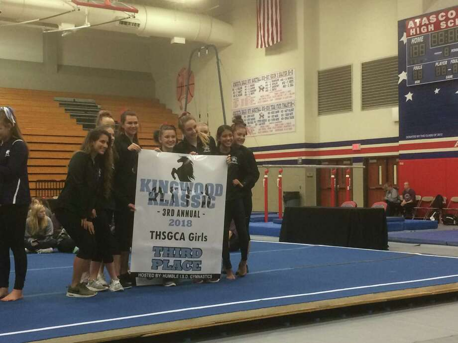 The Atascocita girls gymnastics team finished in third place in the team standings on Feb. 16 at the third annual Kingwood Klassic, which was hosted at Atascocita High School this year Photo: Elliott Lapin