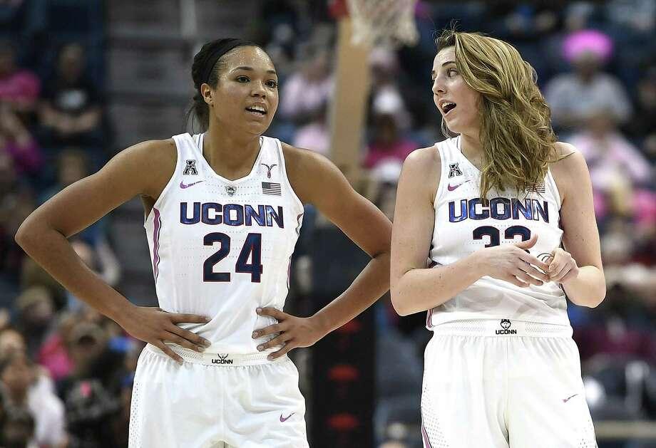UConn's Napheesa Collier, left, and Katie Lou Samuelson. Photo: Jessica Hill / Associated Press / AP2018