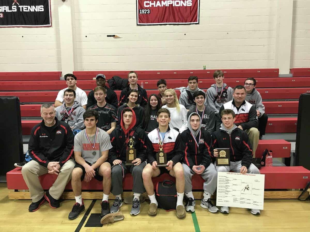 The 2018 Warde wrestling team finished second in the FCIAC Championships that took place last weekend at New Canaan High School. The Mustangs had a top six place finisher in 11 weight classes.