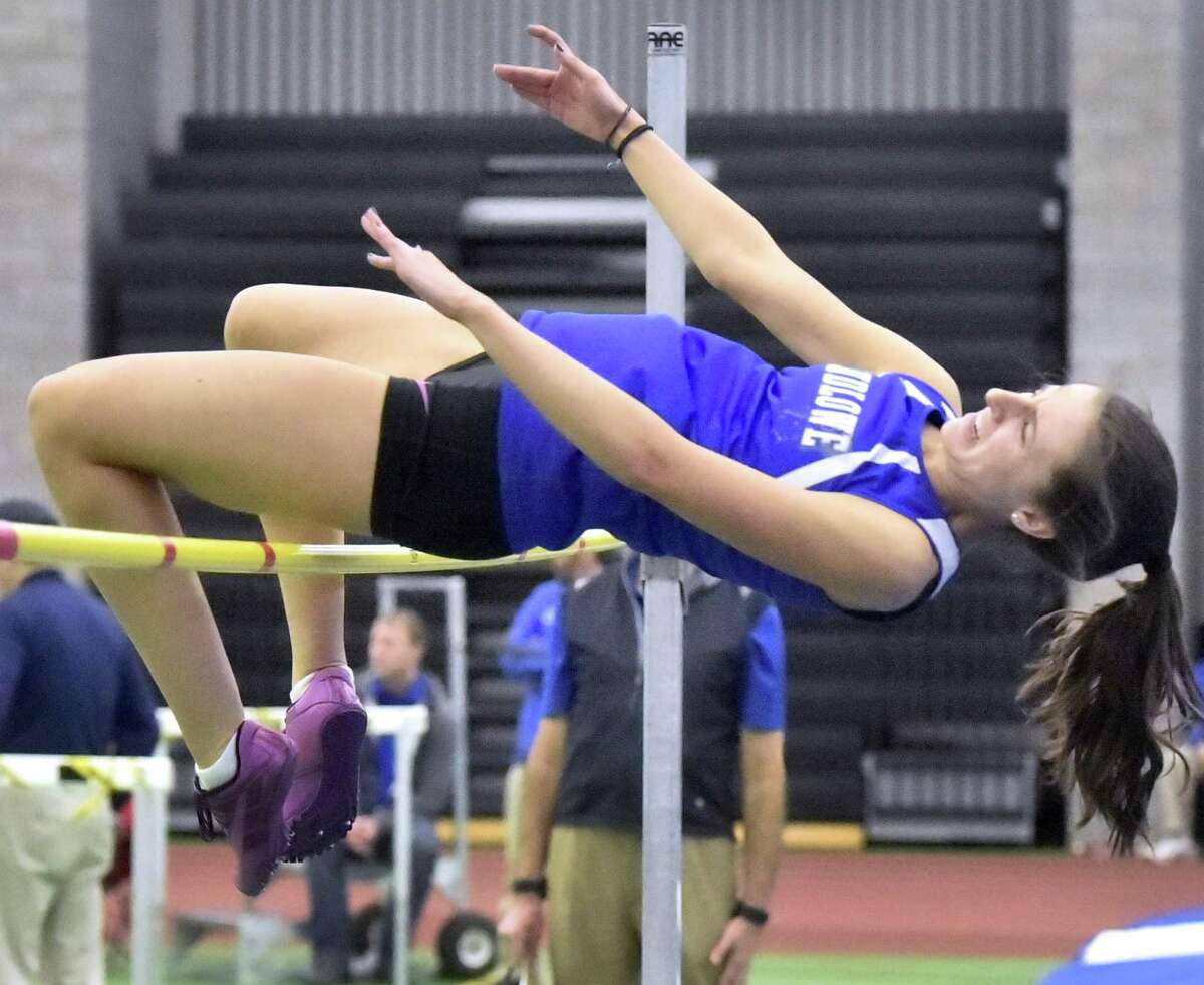 Ludlowe's Tess Stapleton clears the bar in the high jump competition in the 2018 FCIAC Championships last weekend. Stapleton, a freshman, placed third in the event.