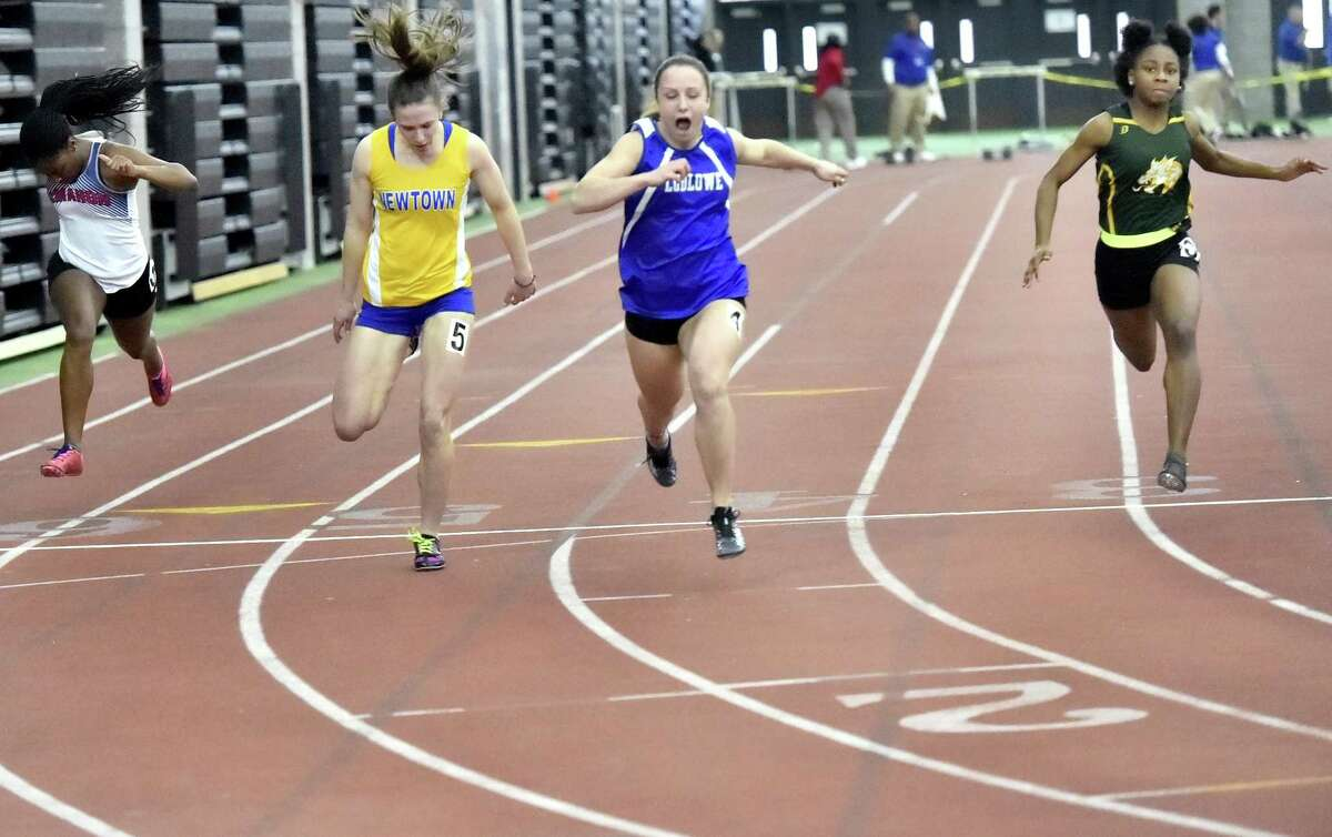 Ludlowe's Maya Mocarski wins the 55-meter dash at the 2018 FCIAC Indoor Track Championships last weekend in New Haven. Mocarski was timed in 7.19 seconds.