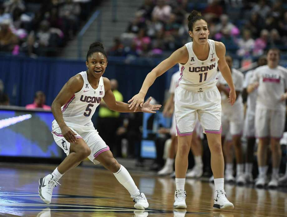 Crystal Dangerfield, left, Kia Nurse and the UConn women's basketball team hosts Temple on Sunday in Hartford. Photo: Jessica Hill / Associated Press / AP2018