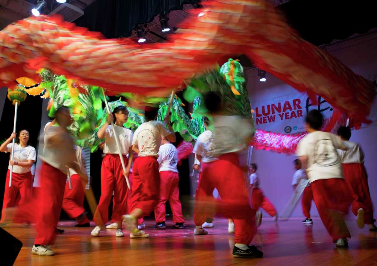 Members of the Shaolin Temple Cultural Center perform during a Lunar New Year celebration at the Chinese Community Center on Saturday, Feb. 17, 2018, in Houston.