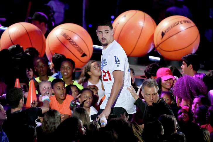 NBA player Klay Thompson greets fans onstage during the Nickelodeon Kids' Choice Sports Awards 2016 at UCLA's Pauley Pavilion on July 14, 2016 in Westwood, California. The Nickelodeon Kids' Choice Sports Awards 2016 show airs on July 17, 2016 at 8pm on Nickelodeon.