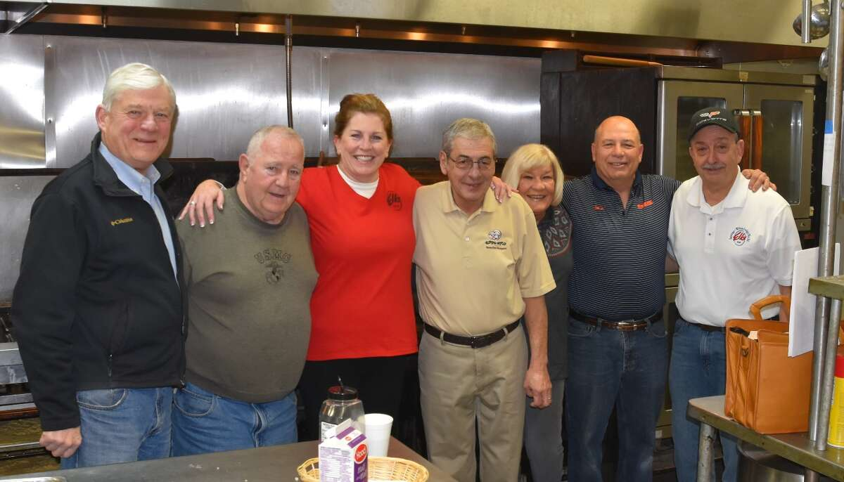 Saratoga-Wilton Elks Lodge #161 members worked 463 hours with the Friends of the New York State Military Museum to make and sell 20 gallons of Military Mud Chowder at Saratoga Springs' Chowderfest on Feb. 3. Proceeds from a bird feeder raffle and donations covered food costs, as well as a donation of bacon from Oscar's Smokehouse. All profits from the chowder were donated to the Friends of the NYS Military Museum for their veterans programs, a total of $450. From left are lodge members John Safford, David Wallingford, Deborah McCabe, Gary Stevens, Gerry Conboy, Ernie Vernie and Ed Decker.