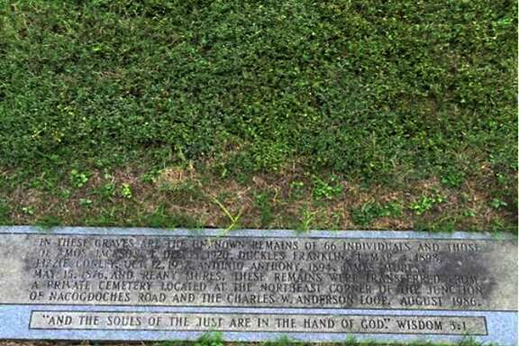 "This is a marker at Holy Cross Cemetery, 17501 Nacogdoches Road, that notes the location of remains that were reinterred from an African American cemetery once located at ""the northeast corner of the junction of Nacogdoches Road and the Charles W. Anderson Loop (1604)"" in August 1986."
