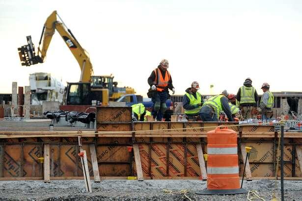 Construction has begun on a new natural gas-fired power plant at PSEG's Bridgeport Harbor Station, in Bridgeport, Conn. Nov. 1, 2017.