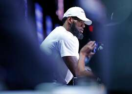 Cleveland Cavaliers' LeBron James during NBA All Star Media Day at LA Convention Center in Los Angeles, Calif., on Saturday, February 17, 2018.