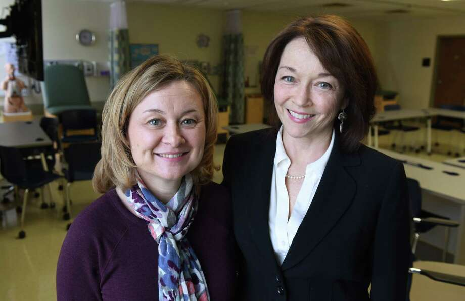 Donnean Thrall, left, a professor of nursing at Siena, with Lisa Flack, right, founded Siena's new bachelor's program for nursing at Siena College in Colonie, N.Y. (Will Waldron/Times Union) Photo: Will Waldron / 20039553A