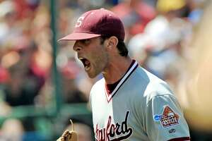 Stanford pitcher Jeremy Bleich celebrates at the end of the fifth inning against Florida State in the opening game of the NCAA College World Series baseball tournament in Omaha, Neb., Saturday, June 14, 2008. (AP Photo/Ted Kirk)