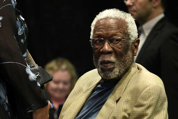 Former play Bill Russell attends National Basketball Association commissioner Adam Silver's news conference during All-Star basketball game festivities, Saturday, Feb. 17, 2018, in Los Angeles. (AP Photo/Chris Pizzello)
