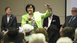Lupe Valdez states her platform as Bexar County Democrat Chairman ManuelMedina hosts a gubernatorial candidate forum at the San Antonio Public Library on February 13, 2018.