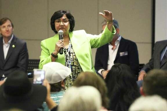 Lupe Valdez states her platform as Bexar County Democrat Chairman ManuelMedina hosts a gubernatorial candidate forum at the San Antonio Public Library on February 13, 2018.