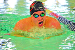 Edwardsville senior Noah May competes in the 200-yard individual medley during Saturday's Springfield Sectional at Eisenhower Pool.