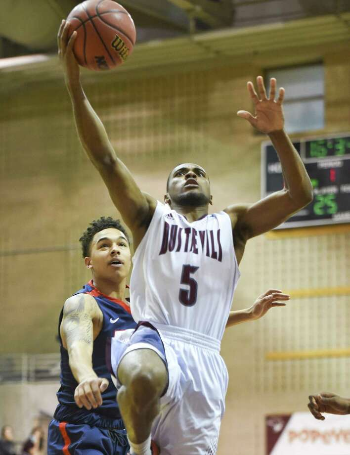 Point guard Jeremy Wright is one of three Dustdevils who played their final home game Saturday on Senior Day. TAMIU allowed eight straight points to end the game losing 58-47 to Rogers State. Photo: Danny Zaragoza /Laredo Morning Times / Laredo Morning Times
