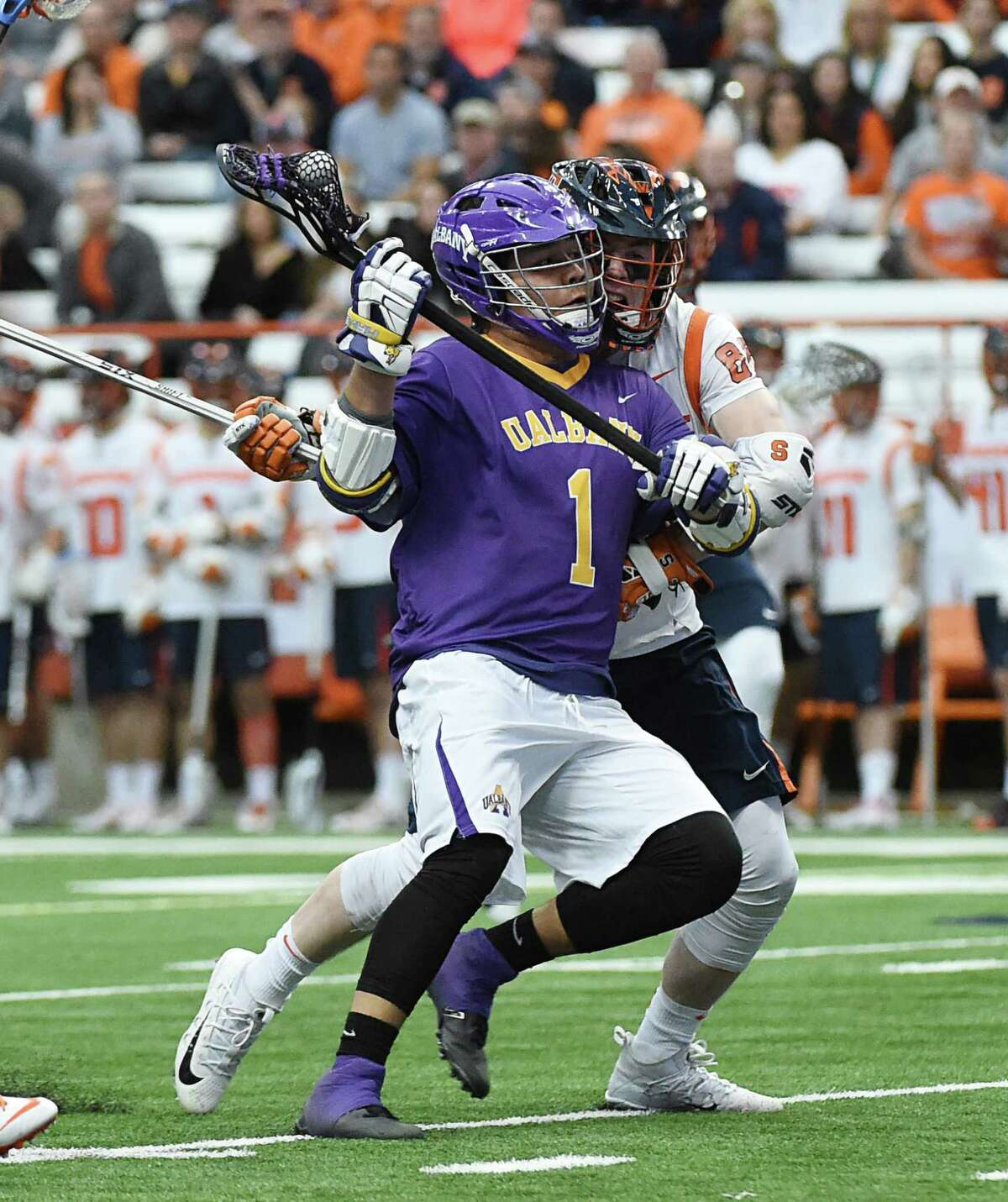 UAlbany freshman Tehoka Nanticoke fights for position against Syracuse during their game Saturday, Feb. 17, 2018, at the Carrier Dome in Syracuse. (Greg Wall / UAlbany Athletics)