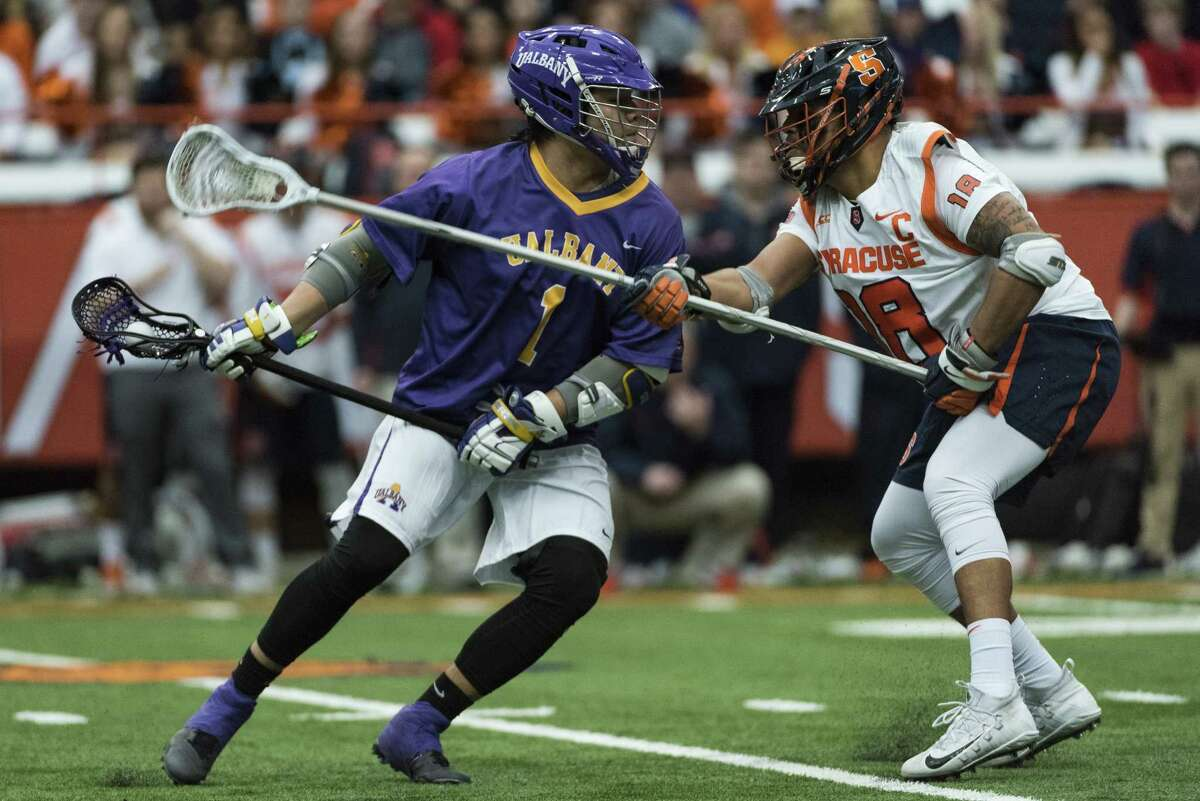 UAlbany freshman Tehoka Nanticoke looks for a shot against Syracuse during the Danes' 15-3 win on Saturday, Feb. 17, 2018, at the Carrier Dome in Syracuse. (Bryan Cereijo / Syracuse.com)