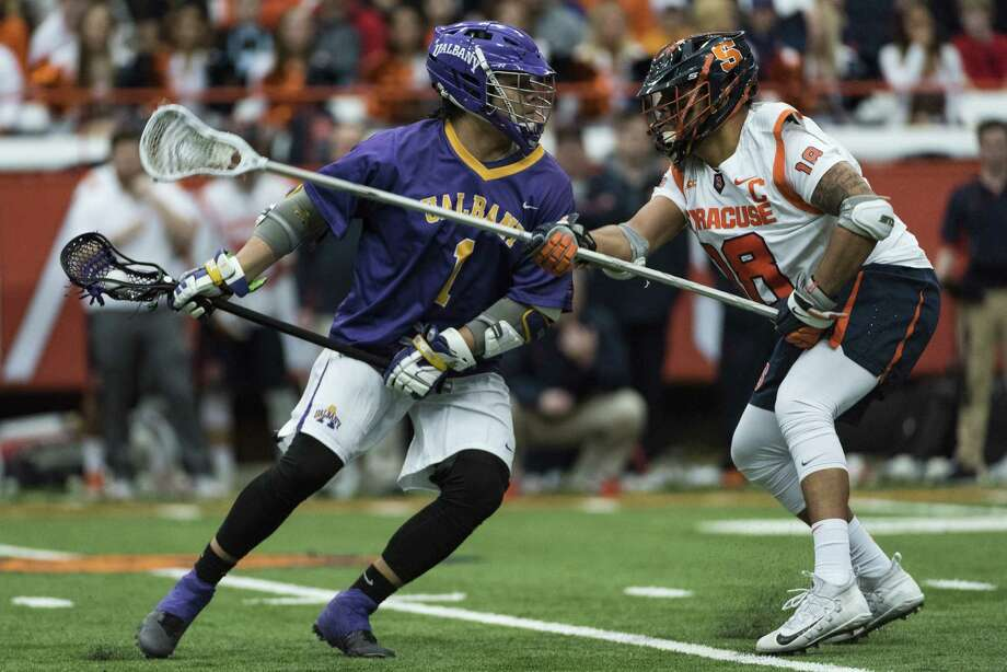 UAlbany freshman Tehoka Nanticoke looks for a shot against Syracuse during the Danes' 15-3 win on Saturday, Feb. 17, 2018, at the Carrier Dome in Syracuse. (Bryan Cereijo / Syracuse.com) Photo: Bryan Cereijo / SYR