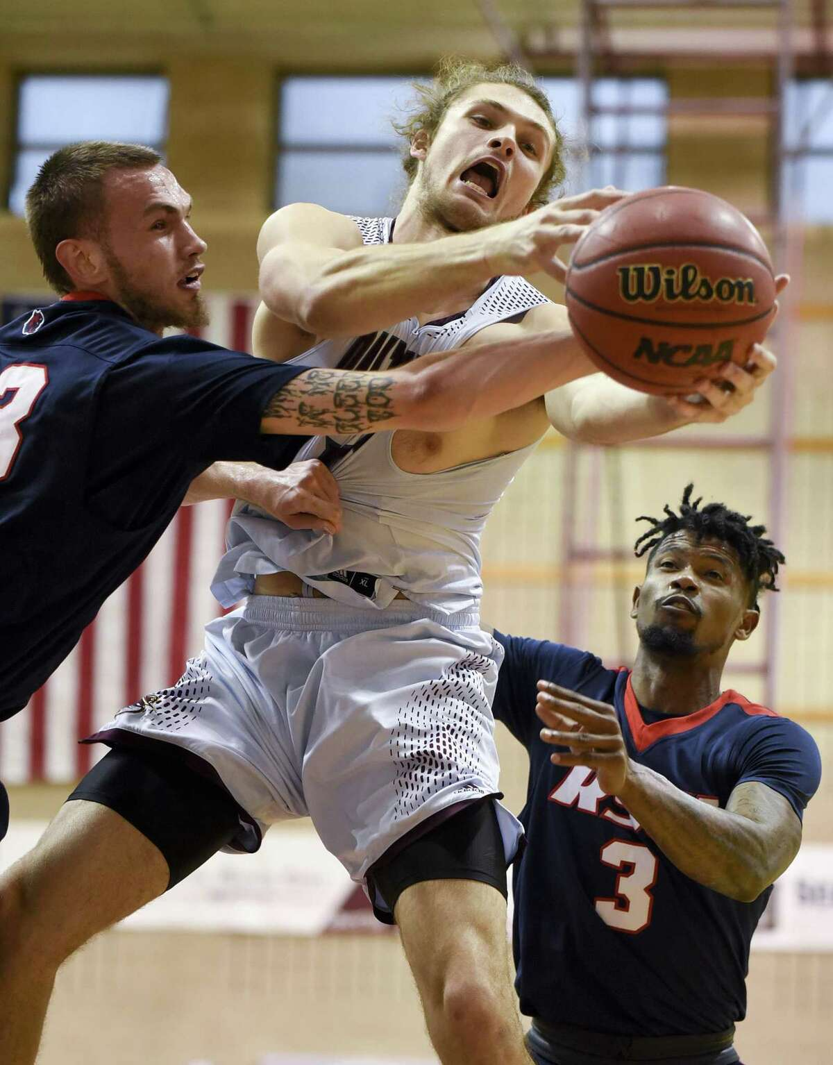 TAMIU center Damon Leach had five points and eight rebounds for the Dustdevils, leading the charge inside with center Steven Coulanges missing Saturday's game due to lingering symptoms from a previous concussion.