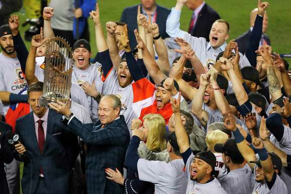 Jim Crane became the first Astros owner to hoist a World Series trophy after the team he helped build with general manager Jeff Luhnow beat the Los Angeles Dodgers in Game 7 last year.