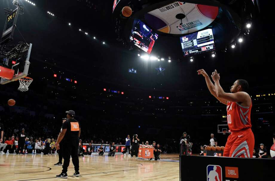 Houston Rockets' Eric Gordon shoots during the NBA All-Star basketball Three Point contest, Saturday, Feb. 17, 2018, in Los Angeles. (AP Photo/Chris Pizzello) Photo: Chris Pizzello, Associated Press / Copyright 2018 The Associated Press. All rights reserved.