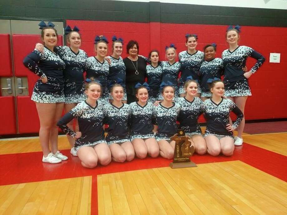 The Meridian competitive cheer team won the program's first district championship in 18 years on Saturday. Pictured are (front row, from left) Libby Wildfong, Jacqueline Posten, Jade McRoberts, Summer Storms, Tana Spangler, Tirzah Dowd; (middle row, from left) Becky O'Dell, Dalaynie O'Hare, Lexi North; (back row, from left) Katie Blanchard, McKenna Burns, Aubrey Erskine, coach Val McKenzie, Liz Melchi, Olivia Wiggins, Reese Wallace. (Photo courtesy of Val McKenzie)