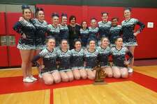 The Meridian competitive cheer team won the program's first district championship in 18 years on Saturday. Pictured are (front row, from left)Libby Wildfong, Jacqueline Posten, Jade McRoberts, Summer Storms, Tana Spangler, Tirzah Dowd; (middle row, from left)Becky O'Dell, Dalaynie O'Hare, Lexi North; (back row, from left)Katie Blanchard, McKenna Burns, Aubrey Erskine, coach Val McKenzie, Liz Melchi, Olivia Wiggins, Reese Wallace. (Photo courtesy of Val McKenzie)