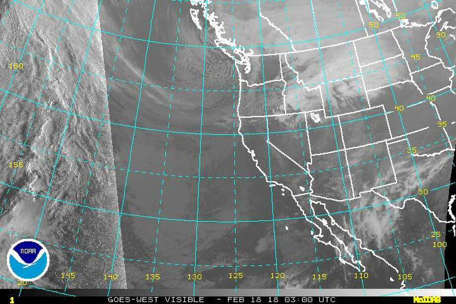 The visible satellite image of the eastern Pacific Ocean and western United States at 7:30 p.m. Saturday, Feb. 17, 2018. Photo: NOAA
