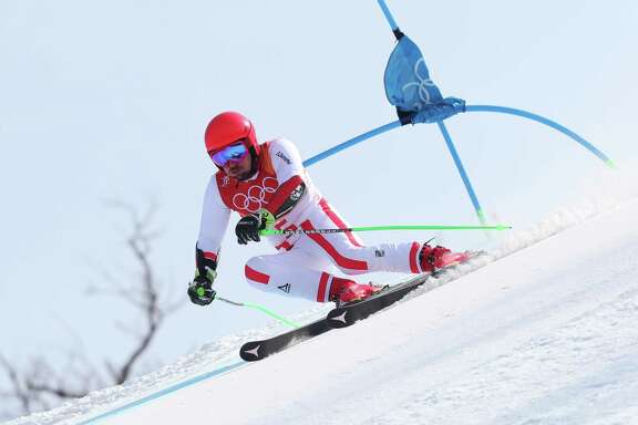PYEONGCHANG-GUN, SOUTH KOREA - FEBRUARY 18:  Marcel Hirscher of Austria competes during the Alpine Skiing Men's Giant Slalom on day nine of the PyeongChang 2018 Winter Olympic Games at Yongpyong Alpine Centre on February 18, 2018 in Pyeongchang-gun, South Korea.