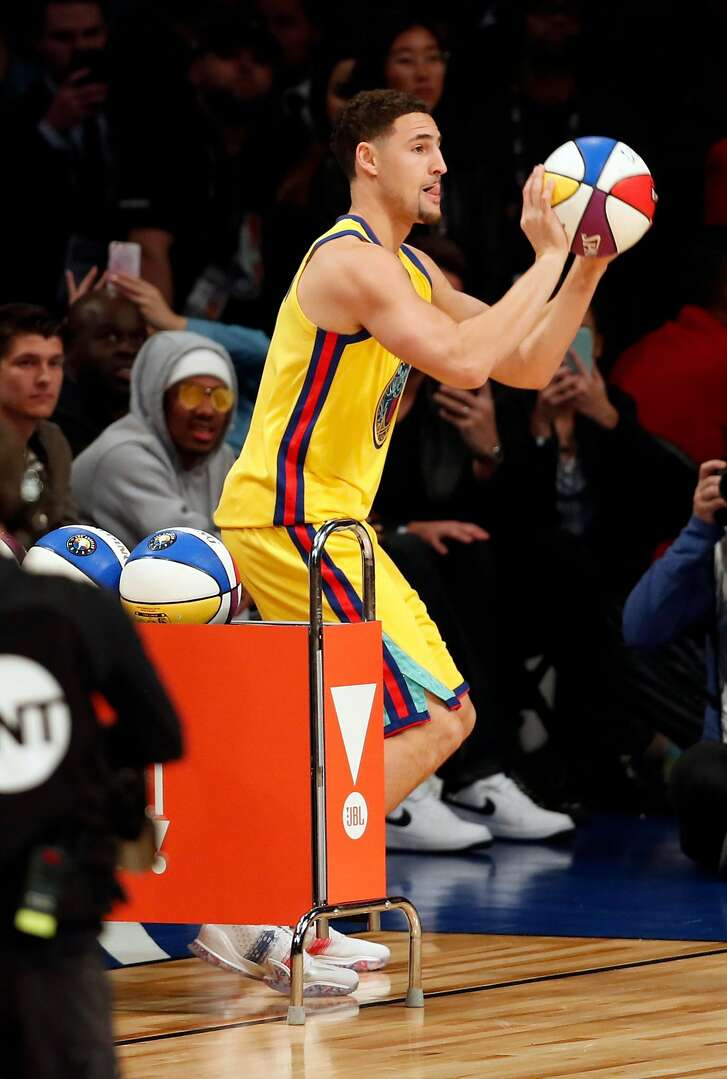 Golden State Warriors' Klay Thompson competes in the NBA All Star Saturday Night 3-point point competition at Staples Center in Los Angeles, Calif., on Saturday, February 17, 2018. Thompson finished second to Devin Booker.