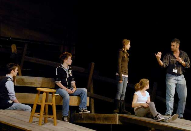 Ward Dales,right, directs a scene  during a rehearsal of the Albany High School production of  the Laramie Project in Albany, New York 11/10/2009. Photo: MICHAEL P. FARRELL / 00006343A