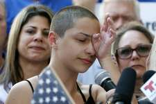 Marjory Stoneman Douglas High School student Emma Gonzalez speaks at a rally for gun control at the Broward County Federal Courthouse in Fort Lauderdale, Florida on February 17, 2018.  Seventeen perished and more than a dozen were wounded in the hail of bullets at Marjory Stoneman Douglas High School in Parkland,Florida the latest mass shooting to devastate a small US community and renew calls for gun control. / AFP PHOTO / RHONA WISE        (Photo credit should read RHONA WISE/AFP/Getty Images)