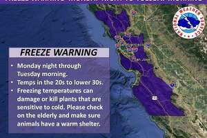Record cold temperatures are expected throughout the Bay Area on Tuesday, forecasters said.