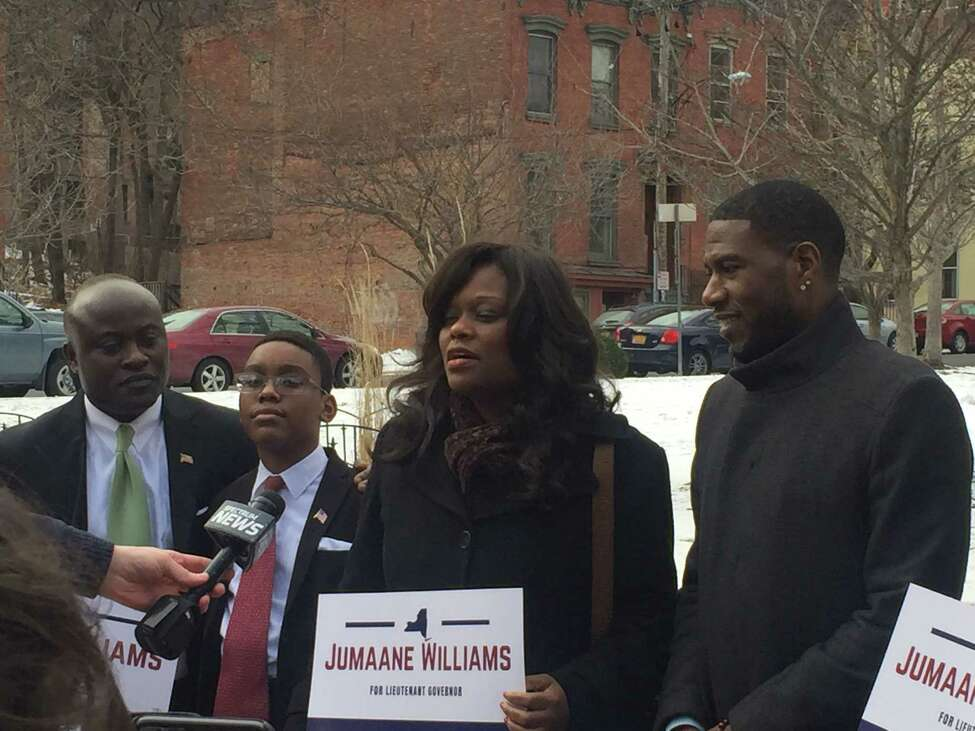New York City Councilman Jumaane Williams received two endorsements as part of his campaign to become lieutenant governor Sunday, Feb. 18, 2018 in Albany.