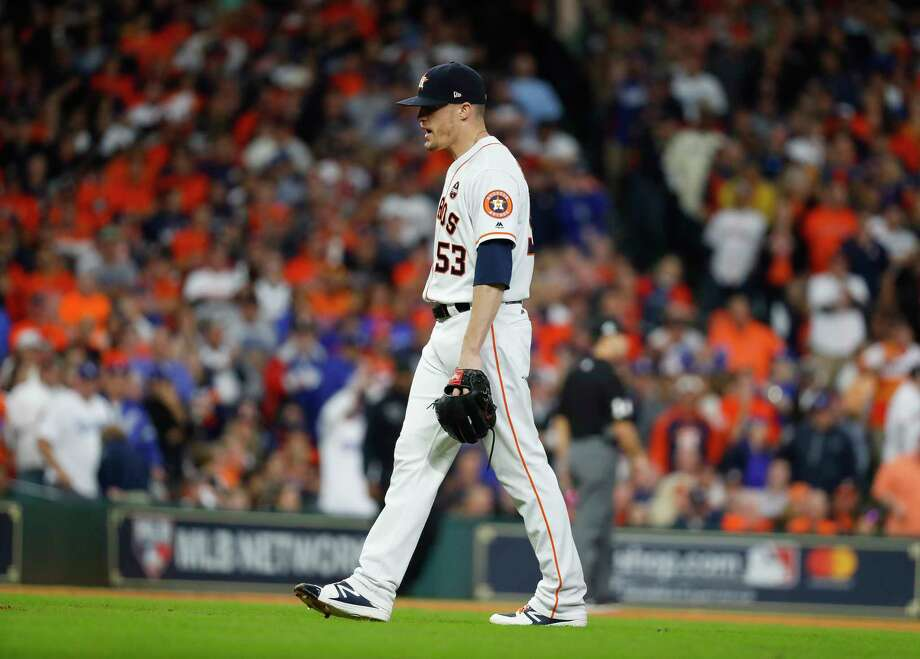 Houston Astros relief pitcher Ken Giles (53) reacts after surrendering a double to Los Angeles Dodgers first baseman Cody Bellinger (35) during the ninth inning of Game 4 of the World Series at Minute Maid Park on Saturday, Oct. 28, 2017, in Houston. ( Karen Warren  / Houston Chronicle ) Photo: Karen Warren, Staff / © 2017 Houston Chronicle