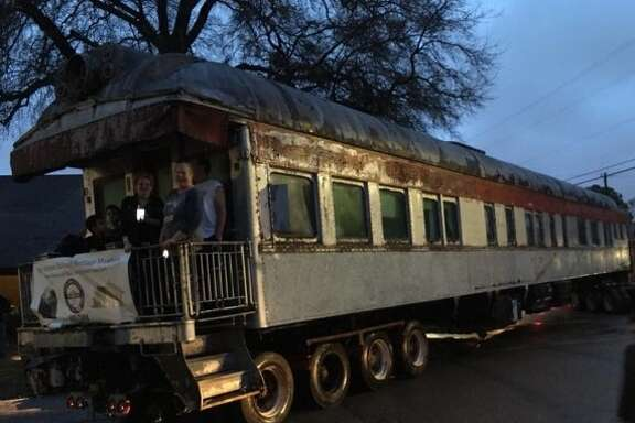 """A Southern Pacific passenger railroad car named """"The Alamo"""" was a source of pride in Pasadena's Mount Vernon neighborhood for more than 30 years before it was hauled to a railroad museum in Elmendorf on Feb. 8"""