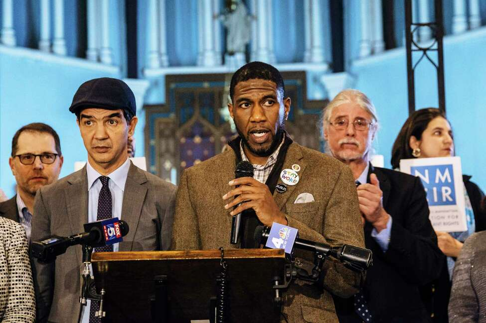 Jumaane Williams, then a newly elected Brooklyn councilman, speaks at a community rally for immigrant and human rights, at Holyrood Episcopal Church in New York, Jan. 17, 2018. Williams is planning to travel the state in the coming weeks to test the waters for a lieutenant governor run.