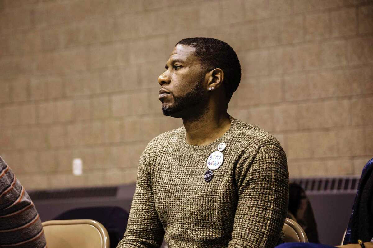 FILE -- Councilman Jumaane D. Williams listens to community members give their feedback on the Theater of War's reading of Sophocles'