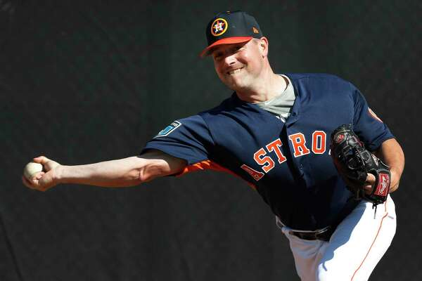 Houston Astros RHP pitcher Joe Smith (38) thows a bullpen session as the pitchers and catchers worked out during spring training at The Ballpark of the Palm Beaches, Thursday, Feb. 15, 2018, in West Palm Beach.
