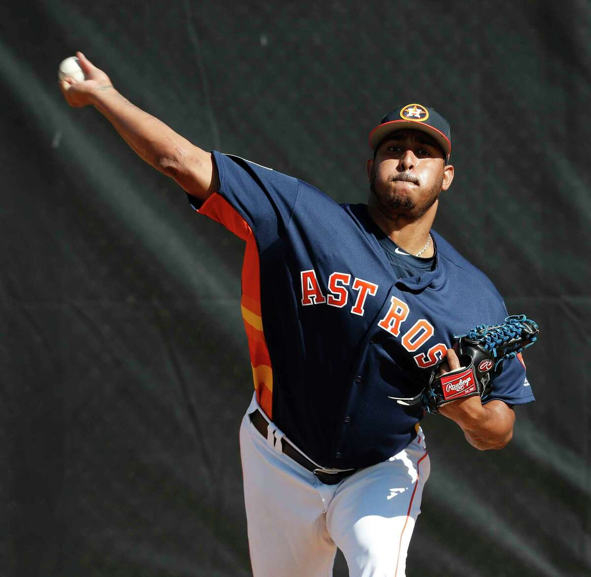 Houston Astros RHP pitcher Hector Rondon (30) pitches a bullpen session as the pitchers and catchers worked out during spring training at The Ballpark of the Palm Beaches, Thursday, Feb. 15, 2018, in West Palm Beach.