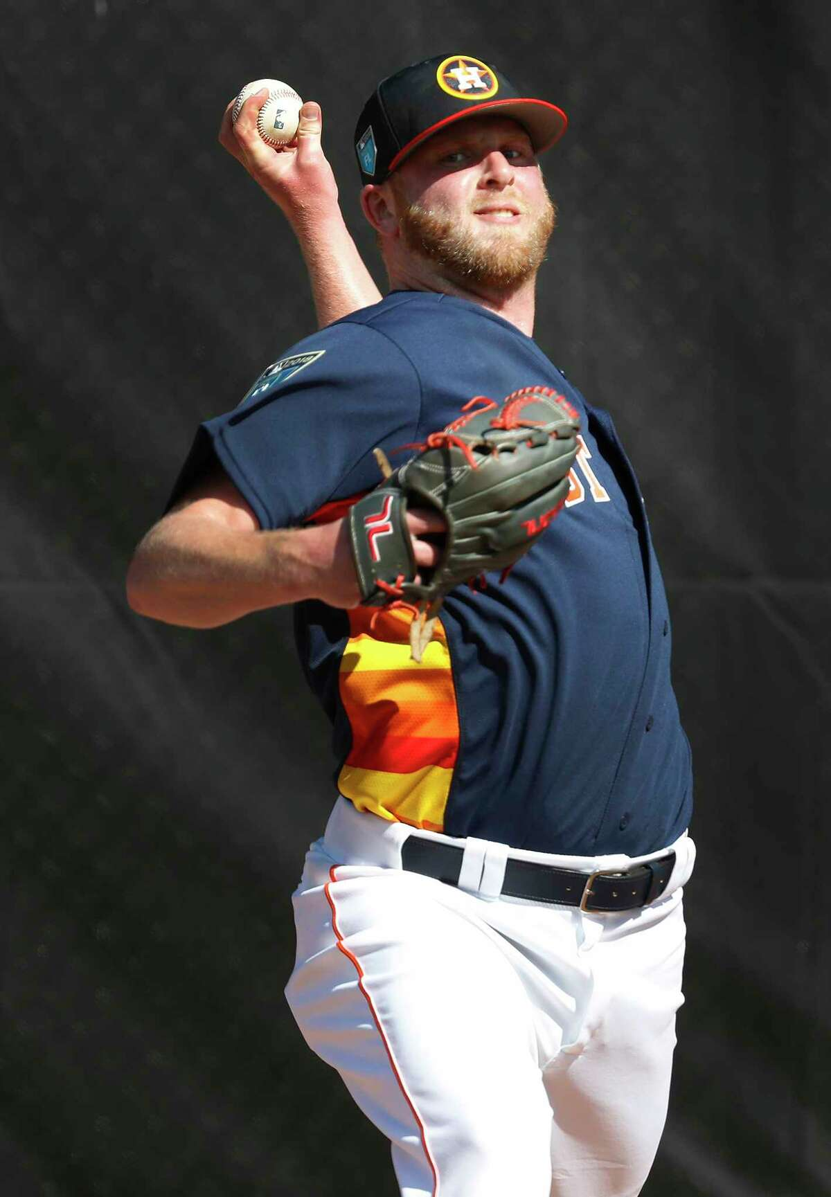 Houston Astros LHP pitcher Buddy Boshers (52) throws a bullpen session as the pitchers and catchers worked out during spring training at The Ballpark of the Palm Beaches, Thursday, Feb. 15, 2018, in West Palm Beach.
