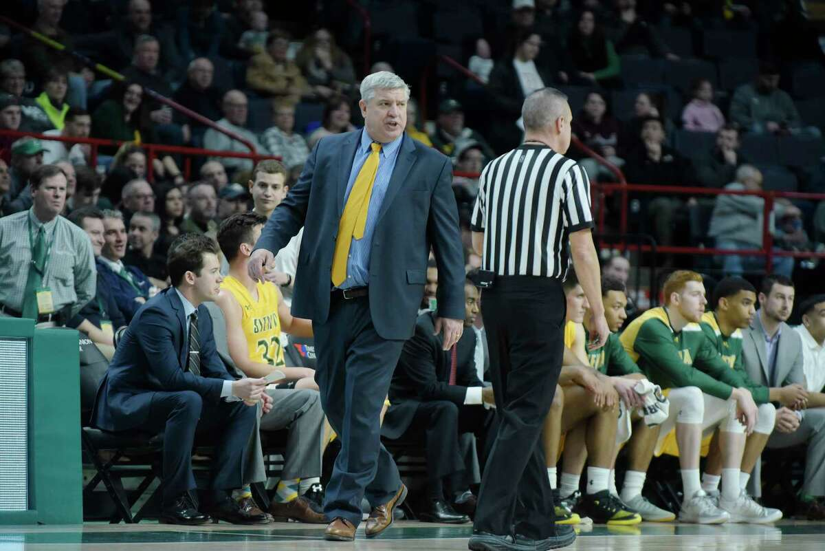 Siena head coach Jimmy Patsos talks to a ref during their game against Monmouth on Sunday, Feb. 18, 2018, in Albany, N.Y. (Paul Buckowski/Times Union)