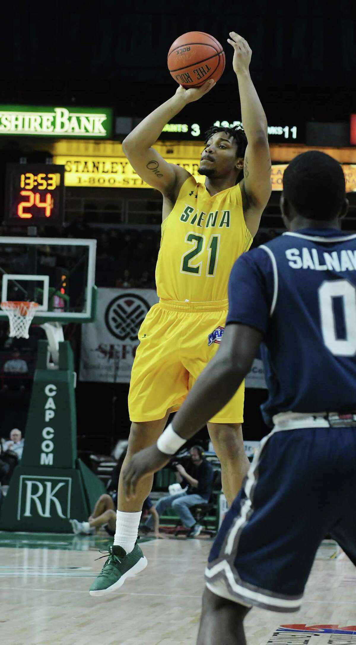 Ahsante Shivers of Siena puts up a shot during their game against Monmouth on Sunday, Feb. 18, 2018, in Albany, N.Y. (Paul Buckowski/Times Union)